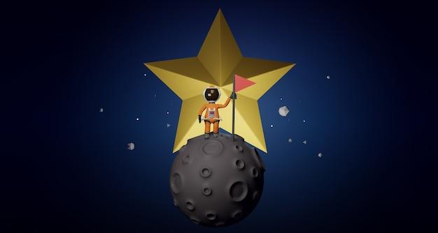 만화 우주 비행사 개념 뒤에 깃발 스타와 함께 달에 서 있는 우주복을 입은 우주 비행사