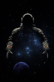 배경 행성 우주 별과 성운에 대한 우주복을 입은 우주 비행사. 우주 비행사 우주 탐사, 우주 비행사의 실루엣. 3d 렌더링