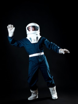 The astronaut is floating in weightlessness the hero