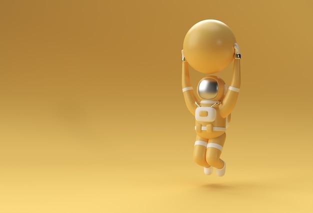 Астронавт прыгает с мячом стабильности, делая упражнения, иллюстрация 3d рендеринга ..
