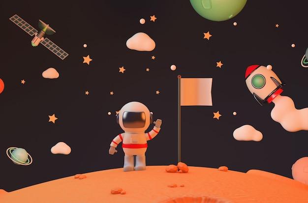 빈 깃발 렌더링을 들고 화성에 우주 비행사 임무