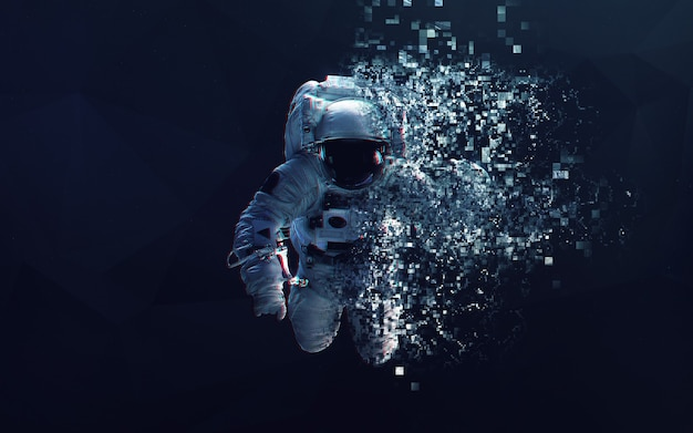 Astronaut in outer space modern minimalistic art