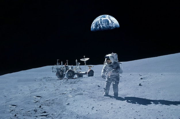 The astronaut performs manipulations on the lunar surface. elements of this image were furnished by nasa. high quality photo