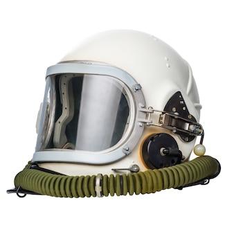 우주 비행사/조종사 헬멧 흰색 배경에 고립입니다.