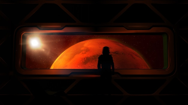 Astronaut at the porthole of a ship approaching mars