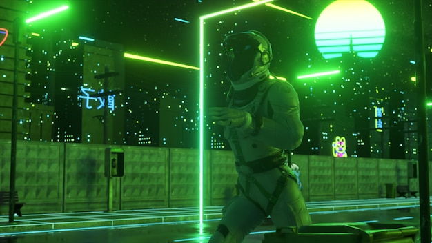 An astronaut runs down the street in a neon city. 80s background. retro style. futuristic concept. 3d illustration