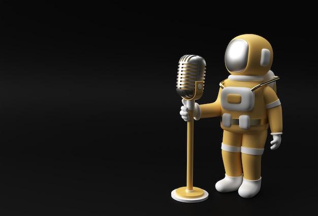 빈티지 마이크 3d 렌더링 디자인으로 노래하는 우주 비행사.