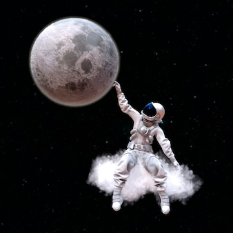 Astronaut sitting on a cloud touches the moon with his hand