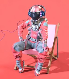 Astronaut sitting on a deck chair, pink background. 3d illustration