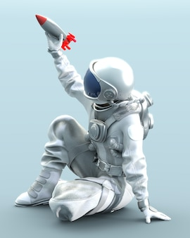 Astronaut sitting on the ground holds small rocket in hand, 3d illustration