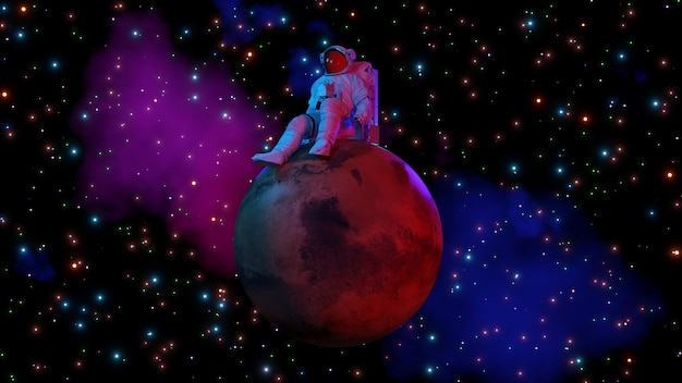 Astronaut sitting on mars and space background 3d rendering