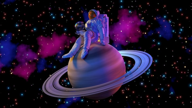토성과 공간 배경에 앉아 우주 비행사입니다. 3d 렌더링.