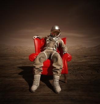 火星の肘掛け椅子に座っている宇宙飛行士