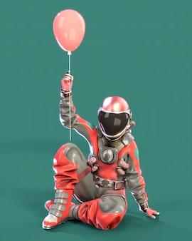 지상에 앉아 있는 우주 비행사는 분홍색 배경의 분홍색 풍선을 손에 들고 있습니다. 3d 일러스트레이션