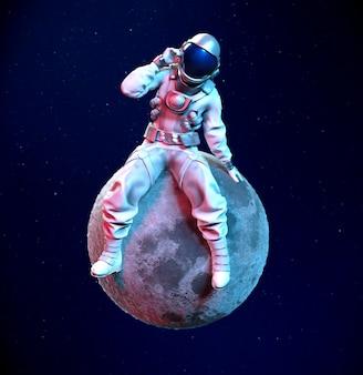 ヘルメットに手を添えて月に座っている宇宙飛行士、3dイラスト