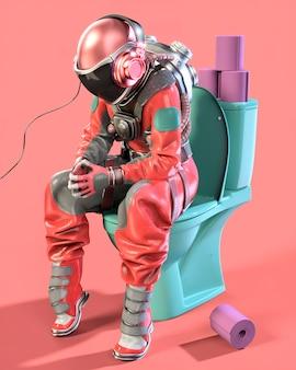 화장실과 분홍색 배경에 앉아 있는 우주 비행사. 3d 일러스트레이션