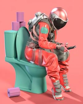 휴대 전화와 함께 화장실에 앉아 우주 비행사. 분홍색 배경입니다. 3d 일러스트레이션