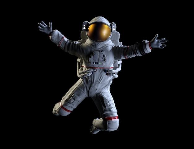 Astronaut on space, black background. 3d illustration