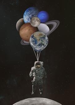 태양계에서 행성 모양의 풍선과 우주 비행사 우주인