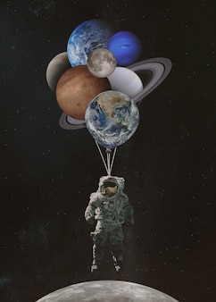 Astronaut spaceman with planets shaped balloons in solar system