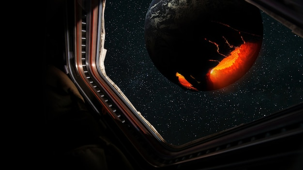 Astronaut in a spaceship flies near a dying planet in open space, view from the window of a space rocket. collapse and apocalypse on planet earth, concept. global warming and saving life on another