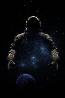 Astronaut in spacesuit against the background planet space stars and nebula. cosmonaut space exploration, silhouette of astronaut. 3d render