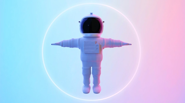 Astronaut standing in psychedelic background