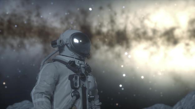 宇宙飛行士は、クレーターの間でエイリアンの惑星の表面に立っています。宇宙探査のコンセプト。 3dレンダリング。