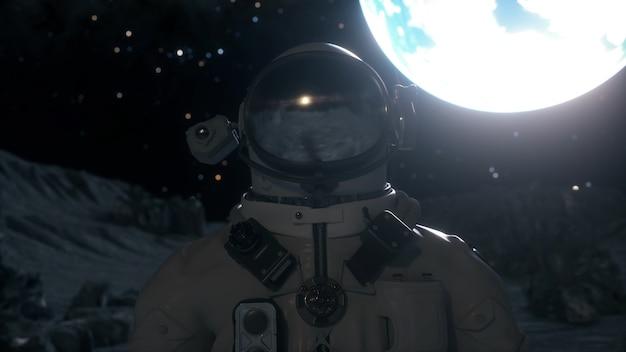 Астронавт стоит на поверхности луны среди кратеров на фоне планеты земля. концепция исследования космоса. 3d рендеринг