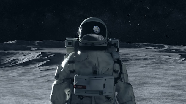 An astronaut stands on the surface of the moon among craters against the backdrop of the planet earth.