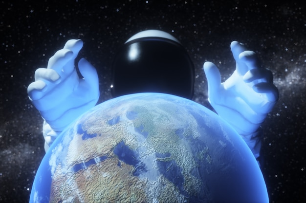 An astronaut stretches his hands behind the planet earth
