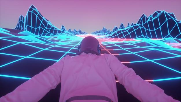 번쩍이는 네온 불빛에 둘러싸인 우주 비행사. 레트로 80년대 스타일의 신디 웨이브 배경입니다. 3d 렌더링.