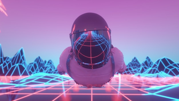 点滅するネオンライトに囲まれた宇宙飛行士