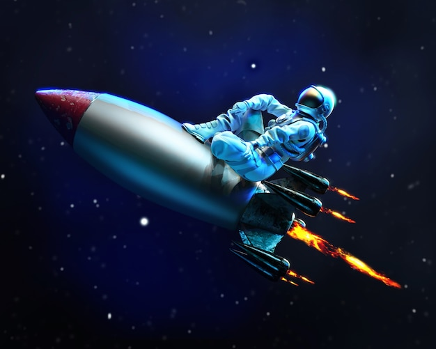 Astronaut travels in space sitting on the flying missile, 3d illustration