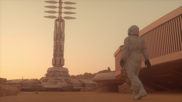 Астронавт идет по поверхности марса