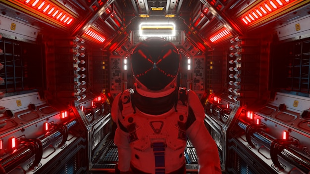 Astronaut walking in spaceship tunnel, sci-fi shuttle corridor. futuristic abstract technology. technology and future concept. flashing light. 3d illustration