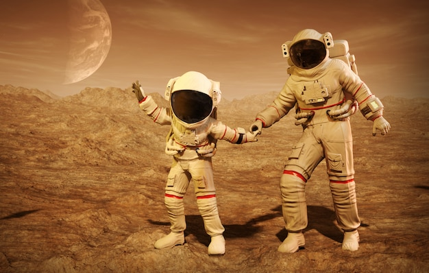 Astronaut with his son on the planet mars 3d illustration