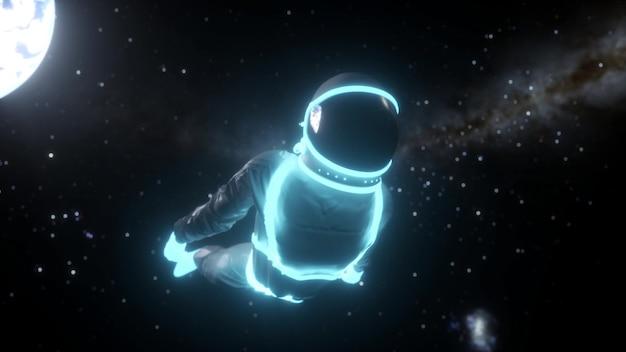 暗い空間でネオンライトを持った宇宙飛行士。シンセウェイブスタイル。 3dレンダリング。