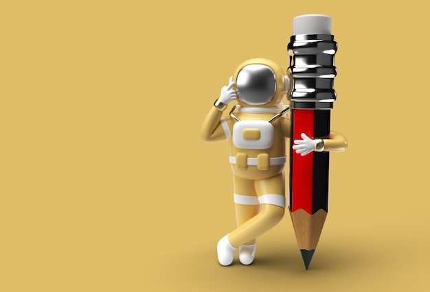 Astronaut with pencil pen tool created clipping path included in jpeg easy to composite.