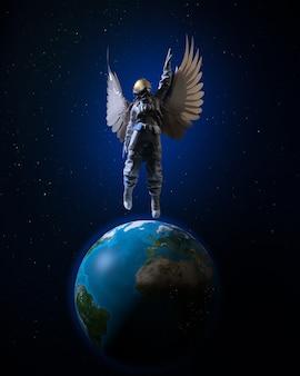 Астронавт с крыльями летит с земли в космос. человеческая мечта. 3d иллюстрации