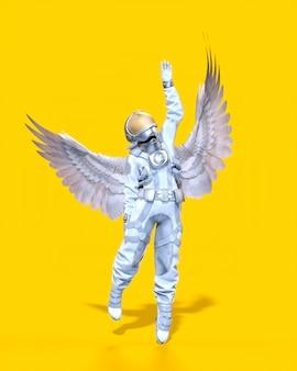 날개, 노란색 배경을 가진 우주 비행사입니다. 3d 일러스트레이션