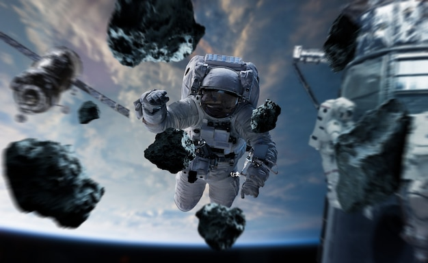 Astronaut working on a space station 3d rendering elements