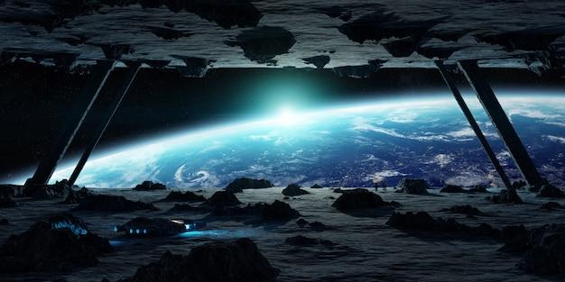 小惑星の宇宙船の3dレンダリングを探索する宇宙飛行士