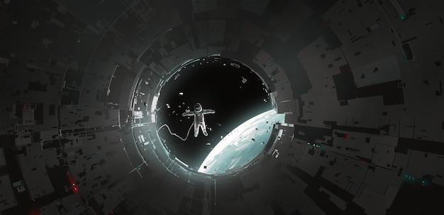 キャビンを離れる宇宙飛行士、空想科学小説のイラスト、デジタル絵画。