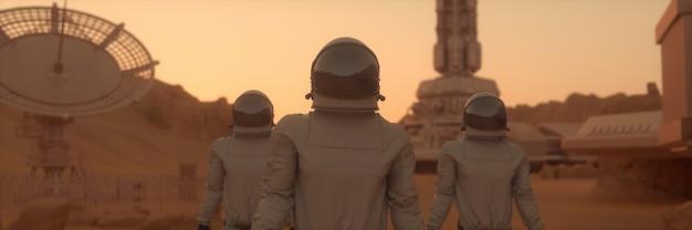 火星の表面の宇宙飛行士。火星の植民地化の概念。 3dレンダリング。