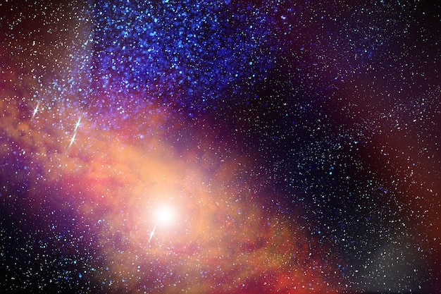 Astronomical photograph of the universe in a distant galaxy with nebulae and stars