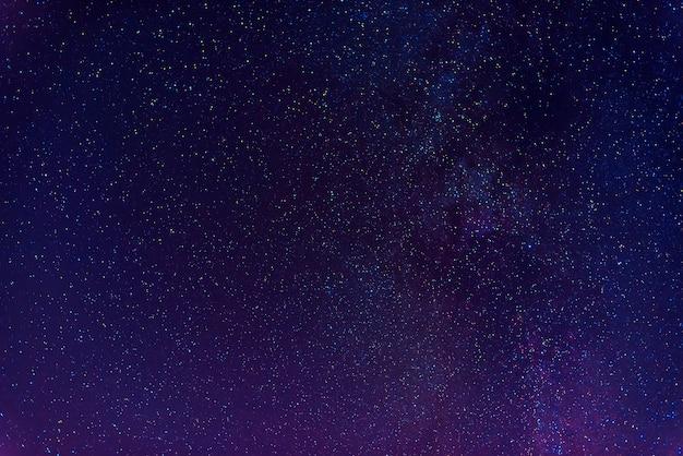Астрофотография темно-синего звездного неба с множеством звезд, туманностей и галактик.