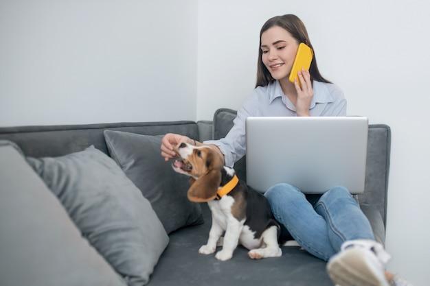 Дома. молодая темноволосая женщина работает на ноутбуке и играет со щенком