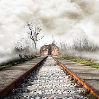 鉄道の終点で