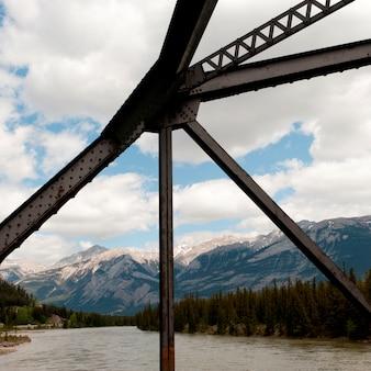 Athabasca river、jasper national park、アルバータ、カナダの橋